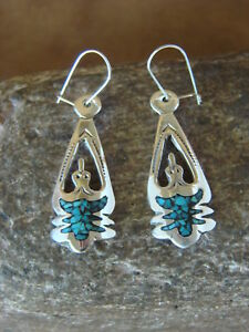 Navajo-Jewelry-Sterling-Silver-Turquoise-and-Coral-Chip-Inlay-Earrings-Yazzie