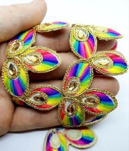 Indian Rainbow Multi Sari Border Trim With Gold Sequins 1M