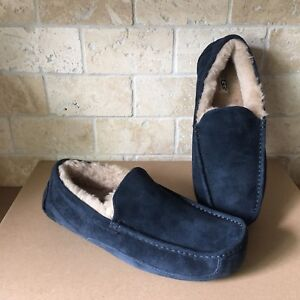 f2bdbc95f20 Details about UGG ASCOT NEW NAVY BLUE SUEDE SHEEPSKIN SLIPPERS MOCCASINS  SHOES SIZE 9 MENS NEW