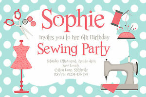 10 personalised sewing party invitations girls birthday invites ebay