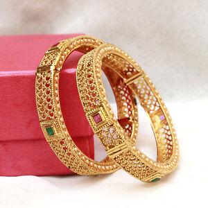 Jewelry & Watches 18k Gold Plated Fashion Bangle Bracelet Open Screw Bangles Set Of 2 Ethnic Style