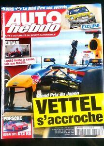 Auto Hebdo Du 13/10/2010; Grand Prix Du Japon; Vettel S'accroche/ Porsche 911 Gt Magasin En Ligne