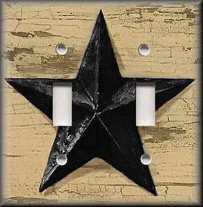 Metal-Light-Switch-Plate-Cover-Black-Barn-Star-Primitive-Decor-Farmhouse-Decor