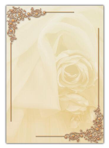 Blumen Vintage Hochzeit Motiv Briefpapier Ornamente Rosen-5191 DIN A4 25 Blatt