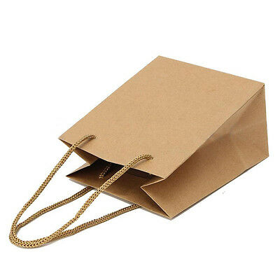 Reusable Plain Strong Brown Kraft Paper Bag with Handle Gift Shopping Delightful