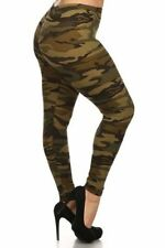 Plus Size Leggings XL-2X Polyester Spandex NEW MIX Green Camouflage Print Camo