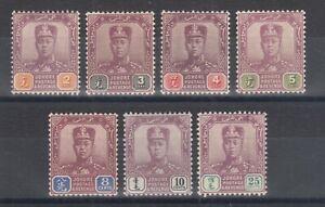 Malaya-Johore-Sc-77-83-MLH-1912-1919-Sultan-Ibrahim-on-Chalky-Paper-F-VF