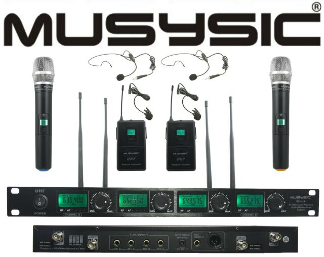 musysic 4 channel uhf wireless microphone system 2 handheld 2 lapel headset for sale online. Black Bedroom Furniture Sets. Home Design Ideas