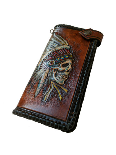 Indian Skull American Leather Long Wallet Red Man Airbrush Art Hand-Carved