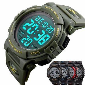020d99075 SKMEI Mens Large Face Digital Sports LED Military Chrono Alarm 5 ATM ...