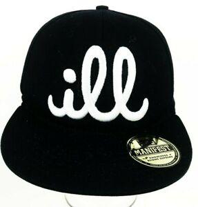 7b9b89b69a2 Details about ILL MANIFEST BASEBALL HAT CAP BLACK STITCHED ADJUSTABLE SNAPBACK  WIDE BRIM EUC