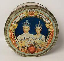 1937 Coronation Commemorative Tin George VI Queen Elizabeth Large Dented Tin