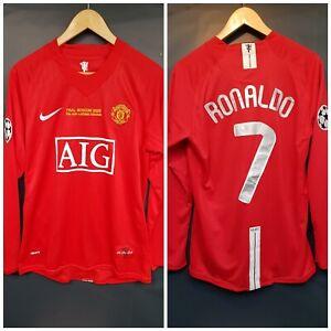 RONALDO 7 Manchester United 2008 CHAMPIONS LEAGUE FINALE Camicia Piccolo Manica Lunga