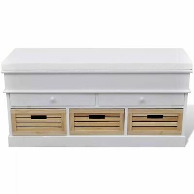 vidaXL Banco de Almacenamiento Entrada con Cajones Blanco Mueble de Recibidor