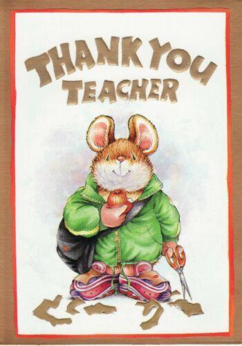 Mignon Hallmark pays compagnons souris ~ Thank You Teacher Carte