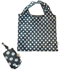 Soake Black & White Polka Dot Foldaway Reusable Shopping Bag Push Button Closure