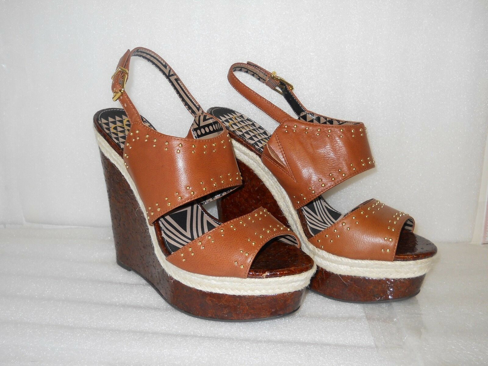 Jessica Simpson New Womens Gena Brown Leather Wedge Platform Sandals 10 M shoes
