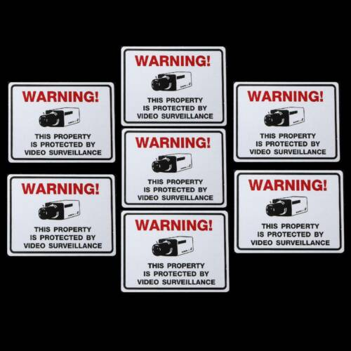 LOT 7 WATERPROOF HOME STORE SECURITY SURVIELLANCE CAMERA WARNING STICKERS DECAL