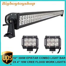 "52inch 300W EPISTAR Led Light Bar Combo+2pcs 4"" 18W Cree LED Flood Work Lamp SUV"