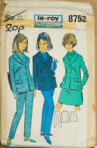 Le-Roy-Weldons-Sewing-Pattern-8752-Jacket-Skirt-amp-Trousers-36-034-Bust-60s-VINTAGE
