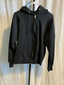 Mens-Black-Hanes-Zip-Up-Hooded-Sweatshirt-Jacket-Small-Nwot
