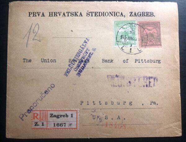 1915 Zagreb Croatie Hongrie Censuré Housse Pour Caisse D'épargne Pittsburgh Pa Usa