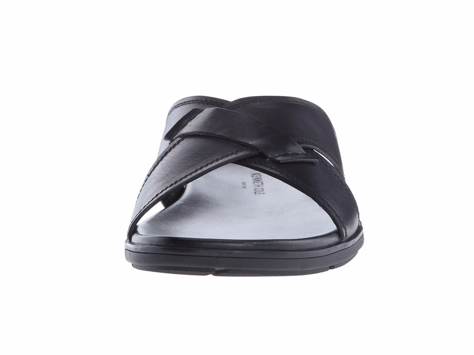 Men's shoes Kenneth Cole Lite N Up Leather Leather Leather Slide Sandals KMS6LE058 Black New 148e7e