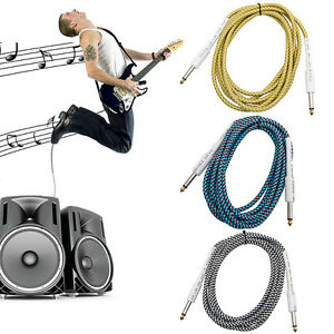 10FT-Bass-Guitar-6-35mm-1-4-Mono-Male-to-Male-Audio-Cable-Wire-Braided-Cord