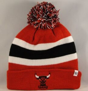25ab8d908e61c Chicago Bulls NBA Cuff Knit Pom Hat 47 Brand Red Breakaway ...