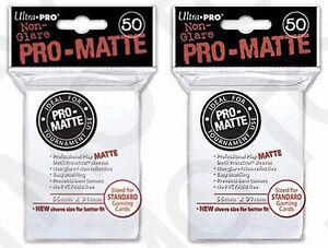 100-2pk-ULTRA-PRO-Pro-Matte-Deck-Protector-Card-Sleeves-Magic-Standard-White