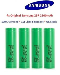 4x Genuine Samsung 25R 18650 2500mAh 20/35A High Drain Battery Flat Top UK Vape