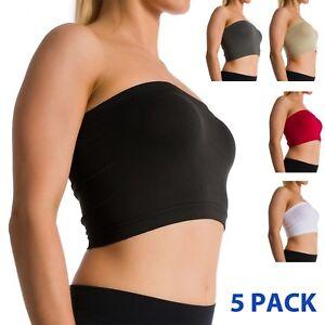 e09de63f4 5 Pack Seamless Strapless Bra Bandeau Fits Fashion Tube Top Sports ...