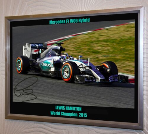 Lewis Hamilton /& F1 Mercedes F1 W06 Hybrid A3 Large Silver Framed Canvas Signed.