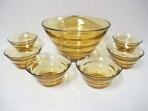 Details About Rare Bryce Or Heisey Topaz Amber Saturn Pattern Salad Bowl And 6 Serving Bowls