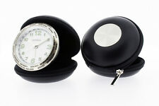 New Round Travel Alarm Clock in Black