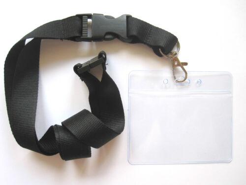 1 x Schlüsselband mit Ausweishülle schwarz Kartenhalter Lanyard Ausweishalter