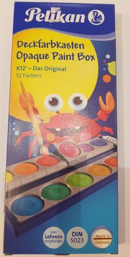 Pelikan Deckfarbkasten K12 Farbkasten Tuschkasten Malkasten 12 Farben Deckweiss