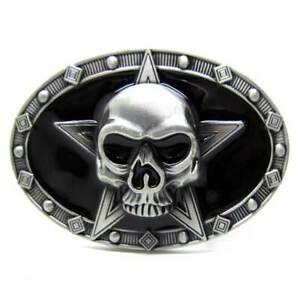 Mens Fashion 3D Patterns Skull Alloy Metal Silver Vintage Belt Buckle 38-40mm