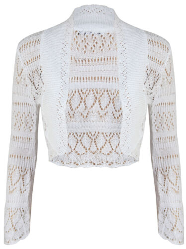 New Ladies Long Sleeve Crochet Bolero Shrug Womens Cropped