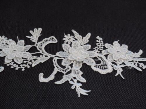3D floral layers ivory lace applique ivory cotton floral lace motif Per piece