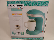 Kitchen Selectives  1-Cup Single Serve Drip Coffee Maker Pot Teal Turquoise Blue