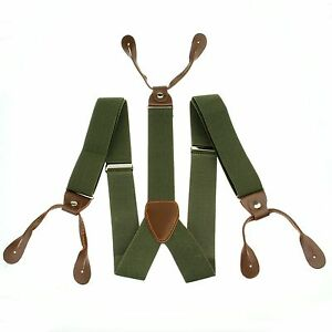 Mens-Adjustable-Button-holes-Unisex-suspenders-Solid-Pickle-Green-Braces-BD703