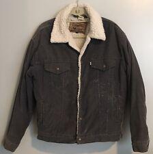 Vintage Men's Levi's Blue Corduroy Trucker Shearling Classic Jacket Medium