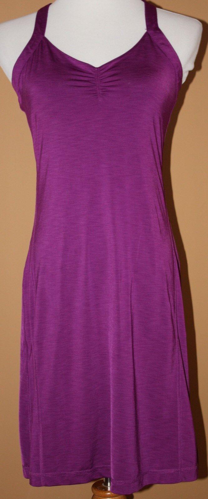 MOUNTAIN HARD WEAR Magenta lila Cross Back Dress S Gatherot Bust