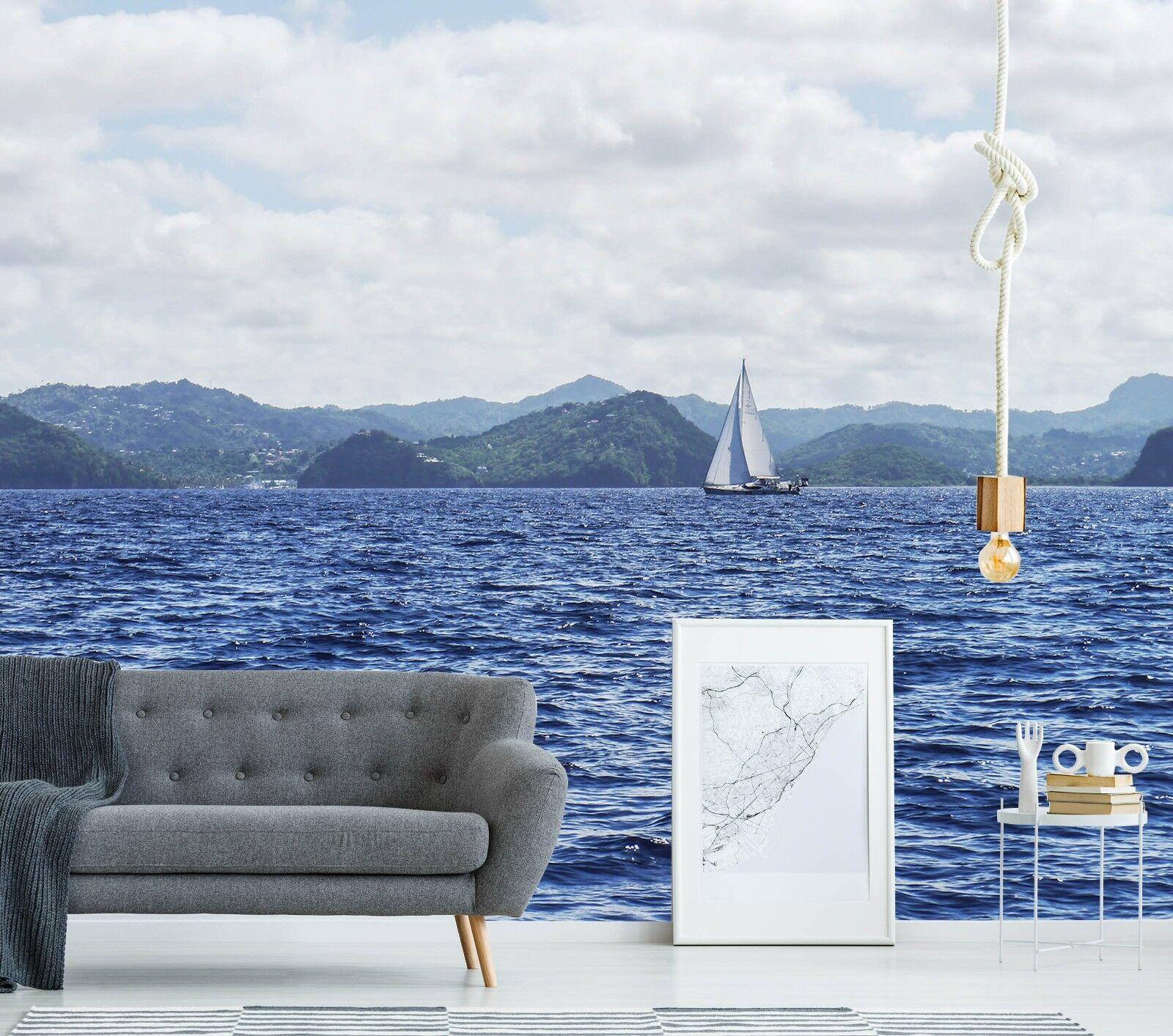 3D Blau Sea Sailboat 899 Wallpaper Mural Paper Wall Print Murals UK Lemon