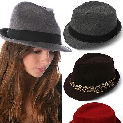 Mens Womens Unisex Vintage Trilby Fedora Summer Sun Wool Wide Brim Cap Hat Beach