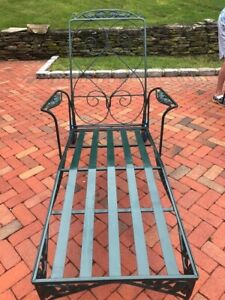 Antique Wrought Iron Chaise Lounge + Side Table | eBay