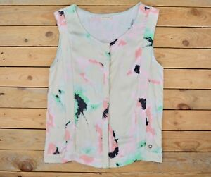 Women-039-s-Pink-Mint-Beige-Print-Sleeveless-Pleated-T-shirt-Top-Blouse-Size-8