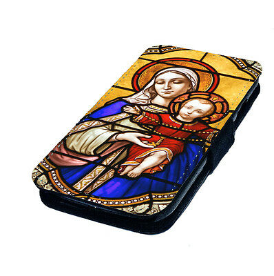 Mary and Baby Jesus Stained Glass - Printed Faux Leather Flip Phone Cover Case