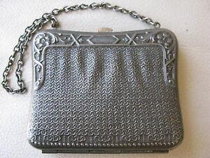 Antique Victorian Edwardian Art Nouveau Faux Mesh Silver T Clam Coin Purse #21